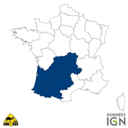 Carte IGN 1/4 de France Sud-Ouest GLOBE